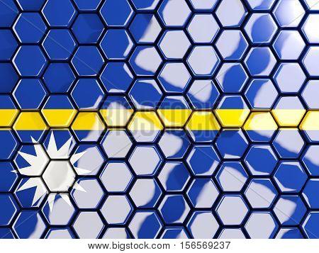 Flag Of Nauru, Hexagon Mosaic Background