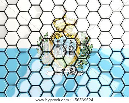Flag Of San Marino, Hexagon Mosaic Background