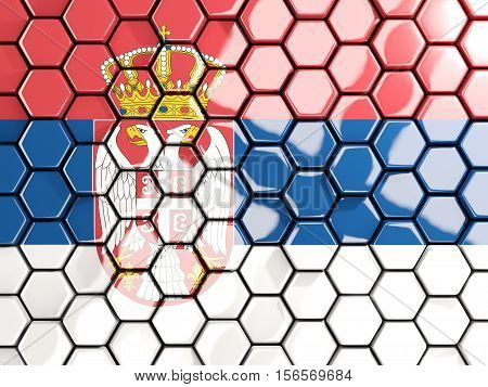 Flag Of Serbia, Hexagon Mosaic Background