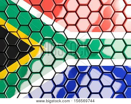 Flag Of South Africa, Hexagon Mosaic Background
