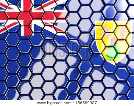 Flag Of Turks And Caicos Islands, Hexagon Mosaic Background