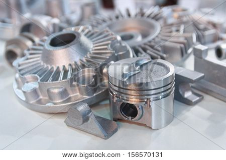 Metal products made by casting techniques closeup. Industry