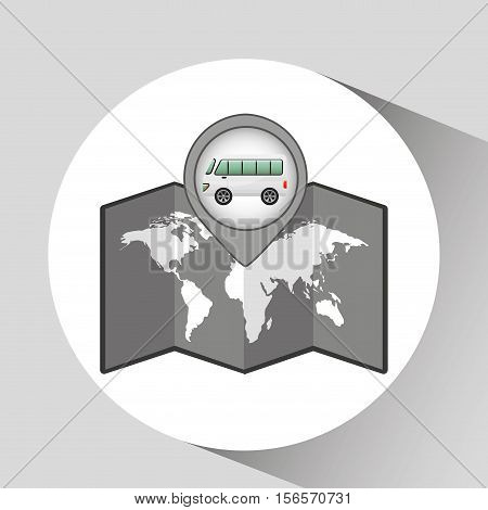 mini bus icon map pointer design vector illustration esp 10