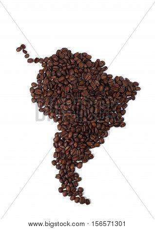 Map of South America Made of Coffee Beans