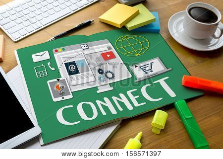Connect Connection Join Graphics And  Business Solutions, Success And Strategy