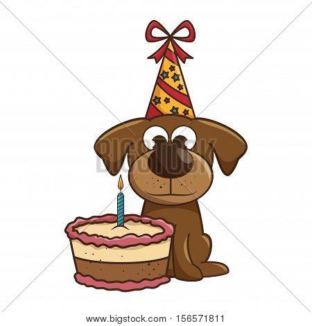 dog mascot with cake birthday vector illustration design