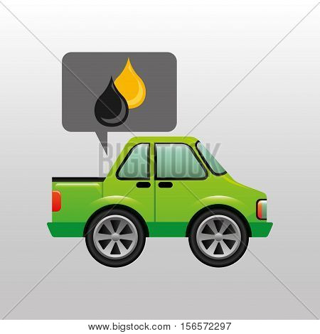 green pickup truck oil gasoline vector illustration eps 10