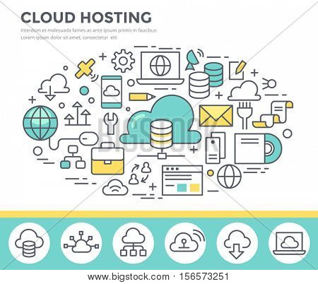 Cloud hosting technology, concept illustration, thin line flat design