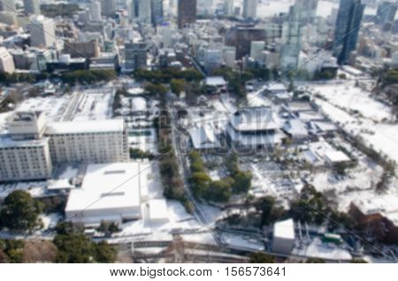 Blurred background .View of Zojo-ji Temple and Tokyo city in winter from Tokyo tower