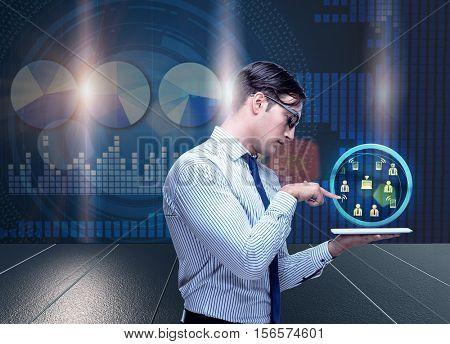Businessman in social media concept