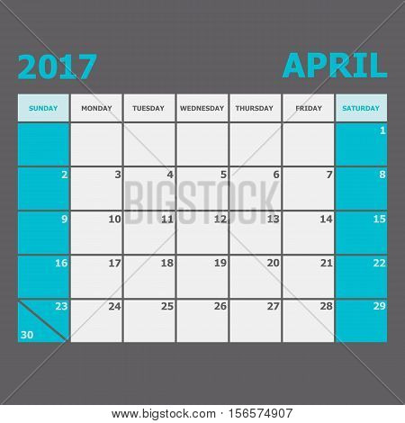 April 2017 calendar week starts on Sunday, stock vector