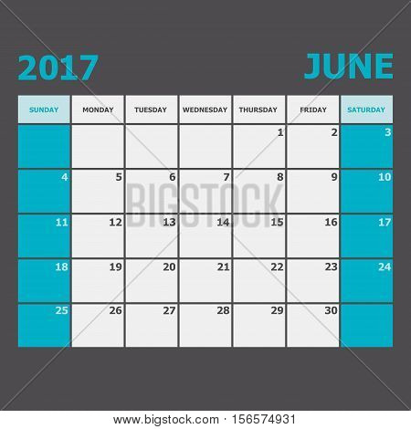 June 2017 calendar week starts on Sunday, stock vector