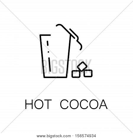 Hot cocoa flat icon. Single high quality outline symbol of drink for web design or mobile app. Thin line signs of hot cocoa for design logo, visit card, etc. Outline pictogram of hot cocoa