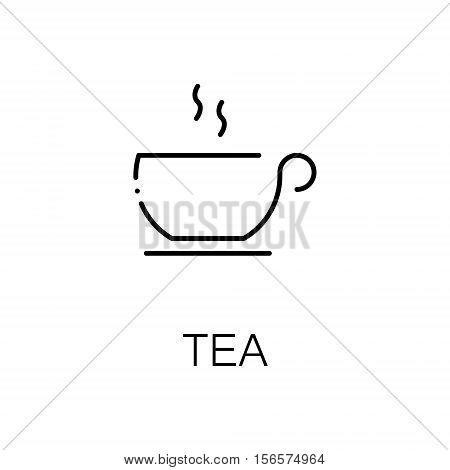 Tea flat icon. Single high quality outline symbol of drink for web design or mobile app. Thin line signs of tea for design logo, visit card, etc. Outline pictogram of tea