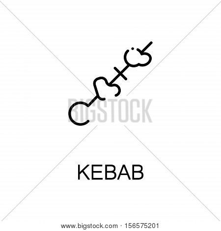 Kebab flat icon. Single high quality outline symbol of meat food for web design or mobile app. Thin line signs of kebab for design logo, visit card, etc. Outline pictogram of kebab