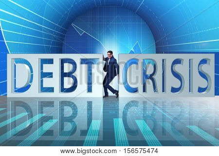 Businessman squeezed between crisis and debt