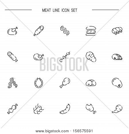 Meat flat icon set. Collection of high quality outline symbols of meat food for web design, mobile app. Vector thin line vector icons or logo of chiken, bee, sausage, ribs, etc.