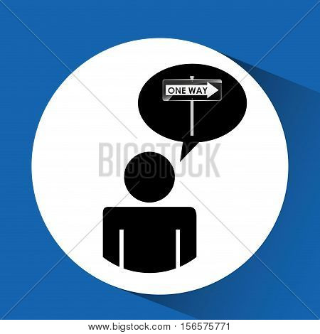 road sign one way silhouette man vector illustration eps 10