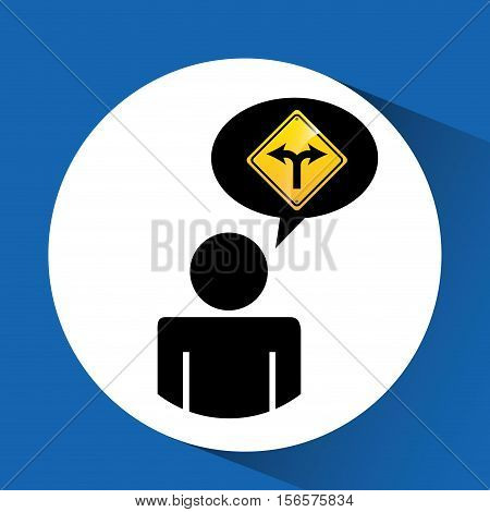 road sign fork silhouette man vector illustration eps 10