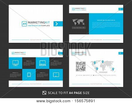 Marketing kit presentation vector template. Modern business presentation creative design. Power layout with diagrams and charts. Marketing kit visualization template. Easy to use edit and print.