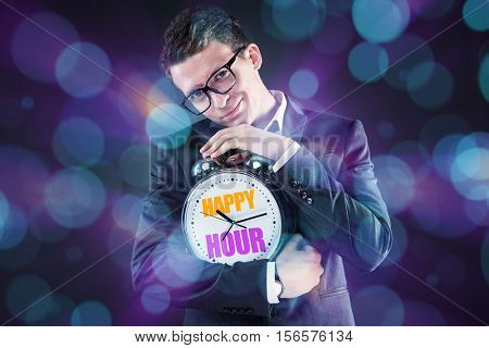 Businessman in happy hour concept