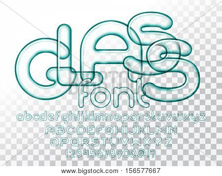 Realistic glass alphabet font with transparency. 3D bulb isolated letters and numbers