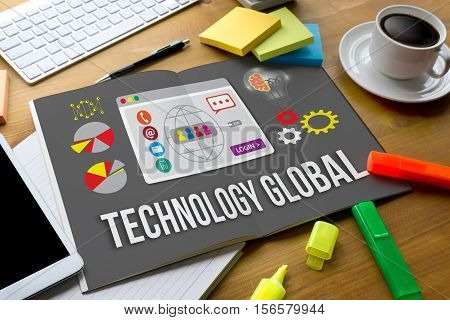 Technology Global Web Media Beach Summer Holiday Vacation Traveling Laptop Technology