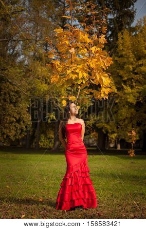 girl in red dress in the autumn park