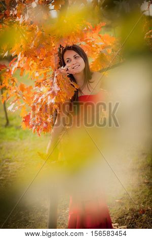 portrait of a girl in the autumn park