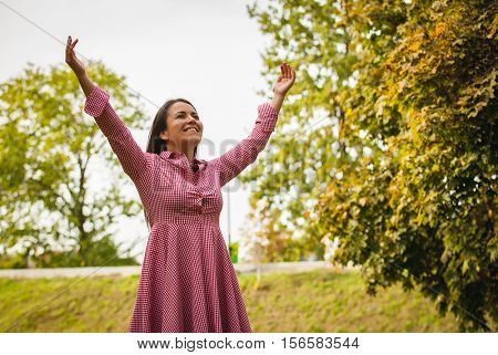 happy rural girl in park