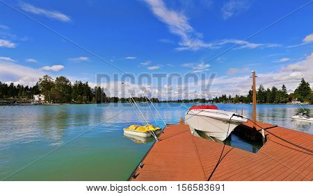 View Of Wooden Pier With Blue Lake Tapps ,sky Background