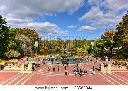 New York City - November 6 2016: Tourists in Central Park in New York. Central Park is an urban park in the central part of the borough of Manhattan.