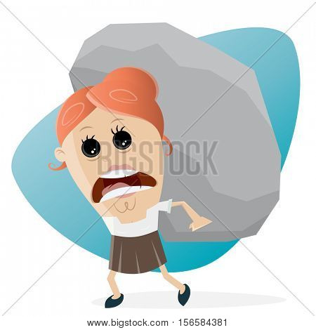 clipart of businesswoman carrying a big rock