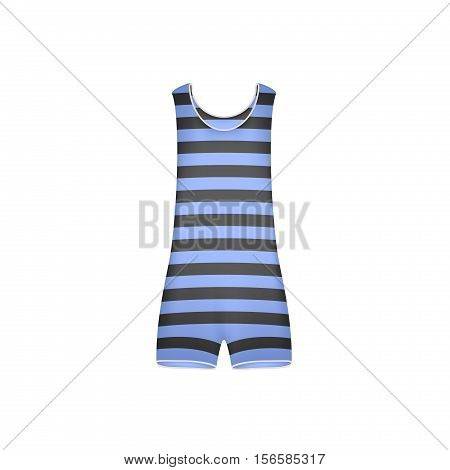 Striped retro swimsuit in blue and black design