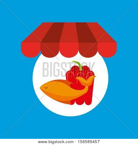 shopping online food fresh fish pepper vector illustration eps 10
