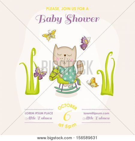 Baby Cat on a Horse - Baby Shower or Arrival Card - in vector