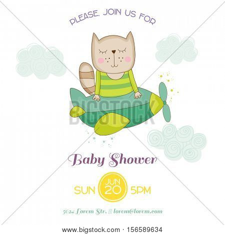 Baby Shower or Arrival Card - Baby Cat Flying on a Plane - in vector