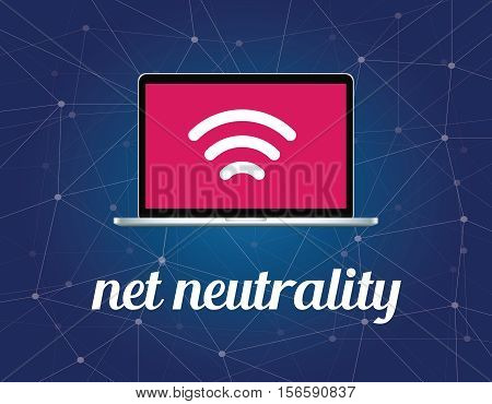 net neutrality concept illustration with signal wifi symbol on the screen laptop and galaxy background illustration