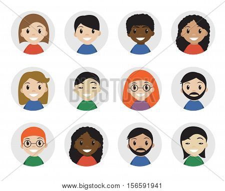 Icons interracial people, flat style. International people icons, avatar. Different people icon. Vector illustration