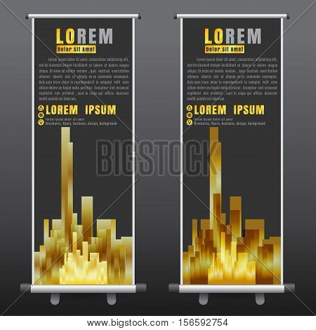 roll up business brochure flyer banner design vertical template vector cover presentation abstract background modern publication x-banner and flag-banner layout in rectangle size on black background