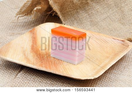 Kuih traditional Malay nyonya sweet desert on palm leaf jute