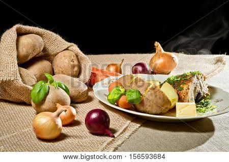 Roast Chicken Breast With Vegetables And  Jacket Potatoes