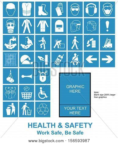 Cyan make your own construction manufacturing and engineering health and safety related signs isolated on white background with sample template