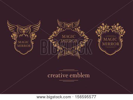 Set creative emblem of the magic mirror with an owl