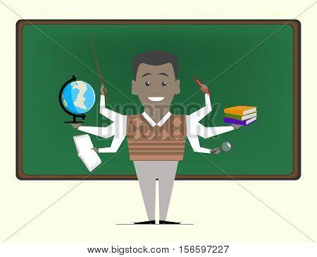 Multitasking is a school teacher near blackboard. Concept vektor.Repetitor