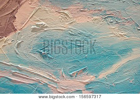 Oil Painting close up texture pallete knife storkes of brown blue turquoise and white color