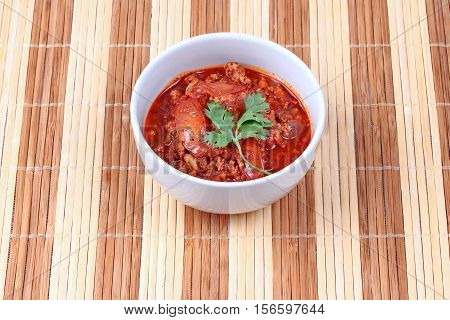 Spicy Meat And Tomato Dip As Nam Prik Ong In Thai