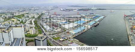 Beautiful Aerial View Of Osaka Port Cityscape