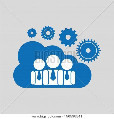 cloud network group cooperation connection design vector illustration eps 10