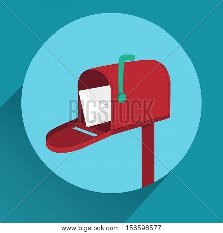 Flat red mailbox with long shadow. Mobile app icon or design element. Vector EPS10 illustration.